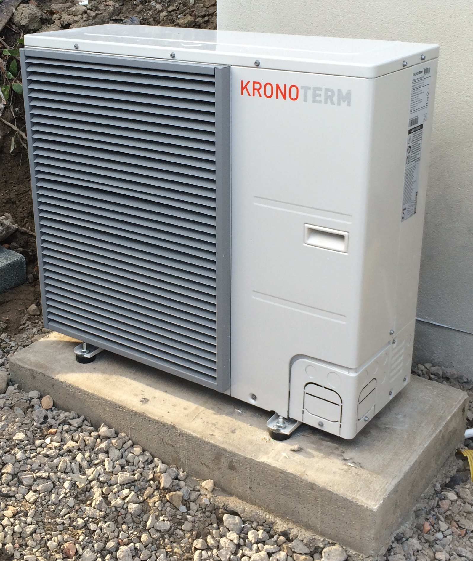 heat pump installed outside house