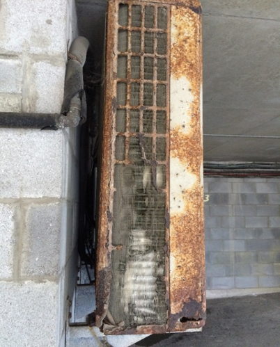 corroded heat pump